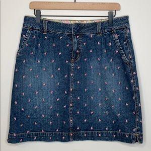 Lilly Pulitzer denim strawberry med wash skirt - 8